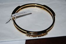 COACH Pave Id Bangle Bracelet Gold/Clear NWT $98 #99968