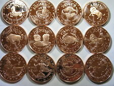 """Horoscope"" Collection of 12 Rounds 1oz .999 Copper Rounds"