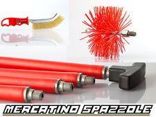 Kit Spazzacamino 6 Aste + Scovolo 200mm Nylon Pulizia Stufa Camino Canna Fumaria
