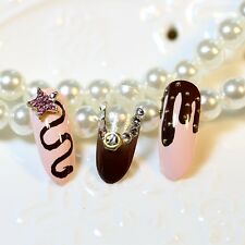 Round Head Pink Dark Coffee Clear False Nails Tip Rhinestone Star Fake Nail Z148