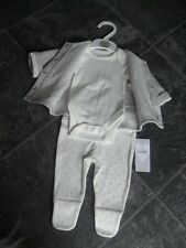 Ex store M&S newborn unisex 3 piece trouser bodysuit and jacket set BNWT
