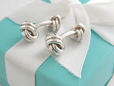 Auth Tiffany & Co Silver Knot Cufflinks Packaging Box Pouch Card