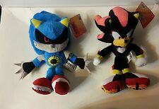 "Sonic the Hedgehog Lot of (2) - 7.5"" Plushes Classic Metal Sonic and Shadow"