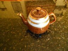 VINTAGE ARTHUR WOOD Brown w/Blue Bands TEAPOT MADE IN ENGLAND Viking