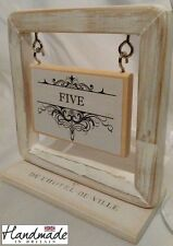 Table name, Box Frame, aged table number card place name wedding holder stand