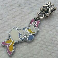 Enamel Licensed Disney Signed DAISY DUCK Dangle Pendant European Bracelet Charm