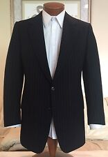 Brioni Mens Black Stripe Wool Cashmere Flannel 2 Btn Suit Sz 38 40 R Excellent!