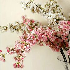 39 Inch Romantic Artificial Branches of Peach Cherry Blossom Silk Flowers Hom...