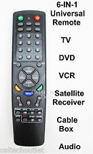 Universal Remote Controller 6 IN 1 TV DVD VCR Satellite Receiver Cable Box Audio