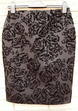 DOROTHY PERKINS FLORAL VELVET BLACK BODYCON PENCIL TUBE ELEGANT SKIRT 10 S