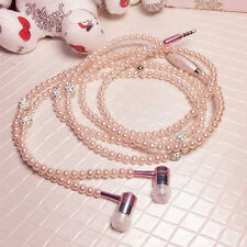 3.5mm Stereo In Ear Headset Pearl Necklace Earphone Headphone For HTC Iphone