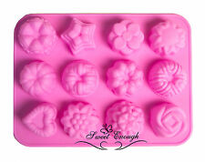 Fancy Rose Heart Flower Silicone Cupcake Muffin Chocolate Jelly Cake Mould