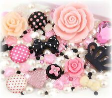 'Mon Amour' 10 Cabochons + 15g Rhinestone Pearl Set Kit DIY Deco Kawaii Craft