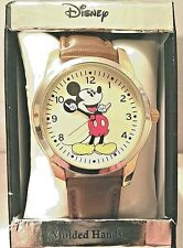 Disney Mickey Mouse Analog Quartz Watch w/Molded Hour/Min.Hands & Brown Strap