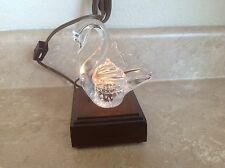 VINTAGE WOODEN TABLE LAMP Swan Glass Display Stand