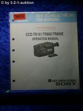 Sony Operation Manual CCD TR101 /TR805 /TR805E Video Camera (#3633)