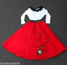 50's GIRL BOBBY SOX HALLOWEEN COSTUME RED JITTERBUG SKIRT SOCK HOP WOMEN