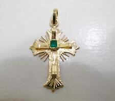 VINTAGE 18 KT YELLOW GOLD NATURAL GREEN COLOMBIAN EMERALD CROSS PENDANT