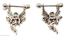 Nipple Shields-PAIR-Sexy Angel/Fairy Dangle 14 Gauge Barbells Steel Body Jewelry