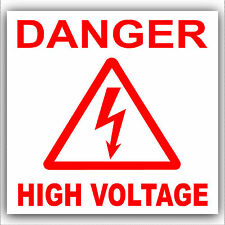 6 x Danger High Voltage-Electrical Warning Stickers-Red Health & Safety Signs