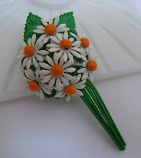 Sweet Vintage Daisy Enamel Flower Brooch Pin
