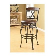 Swivel Espresso Bar Stool Set of 2 Dining Room Kitchen Chair Office Seat Metal