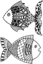 Zendoodles Fish clear craft stamp. Two Ready To Go Zentangled Fish Zentangle