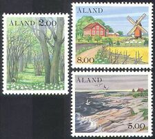 Aland 1985 Windmill/Trees/Birds/Church/Buildings/Sheep/Nature 3v set (n28021)