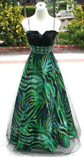 NWT MASQUERADE $170 Black / Lime Formal Evening Gown 3