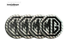 MGF MG TF Badges Alloy Wheel Hub Cap Centres Black Carbon Fibre Silver 55mm