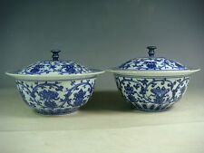 beautiful chinese blue&white porcelain bowls with fitted cover