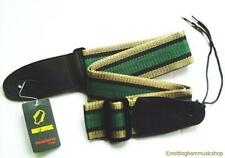 ELECTRIC OR ACOUSTIC GUITAR STRAP NEW 112H GREEN CENTRE STRIPE NYLON 50MM WIDTH