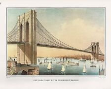 "1972 Vintage Currier & Ives ""NY NYC EAST RIVER BRIDGE"" Color Print Lithograph"