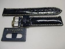 Longines Blue 16mm Blue Reptilian Leather Watch Strap Band w/ SS Buckle Pins Tag