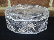 Beautiful Art Deco Heavy Cut Glass Trinket Bowl Bon Bon Dish Dresser Ornament
