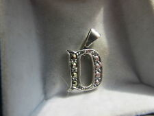 "Vintage .925 Sterling Silver 1/2"" Marcasite ""D"" Letter Intial Pendant Necklace"
