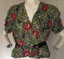 1940s Rayon Mesh Abstract Floral Print Blouse Studded Wood Button Belt Vintage