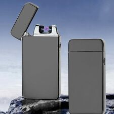 Black Electric Dual Arc Metal Flameless Torch USB Rechargeable Windproof Lighter
