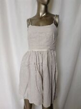 J Crew Linen and Cotton Blend Spaghetti Strap Striped Shift Dress S