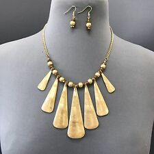 Unique Gold Hammered Metal Triangle Shape Bohemian Style Necklace With Earrings