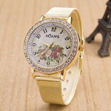 Fashion Women Ladies Crystal Gold Mesh Band Flower Pattern Wrist Watch UK