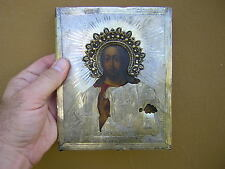 Antique Russian Icon of Jesus Christ 84 Sterling Silver Hand Painted 1875