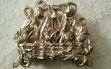 Ornate Lovely Heavy Silver Napkin Holder Set in a Woven Basket  with Tulips