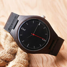 Real Wooden Watch Gift Unique Hand Crafted Mens Watch with Leather strap quartz