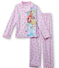 PALACE PETS Fleece Pajamas Girls 7/8 NeW Button Shirt Pants Pjs Disney Princess