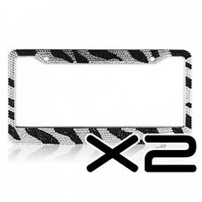Zebra Crystal Rhinestones 2 Pcs License Plate Frame Black and Clear