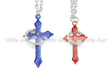 1 Pair His and Her Cross Pendant Stainless Steel Bible Necklace Blue Red Ring