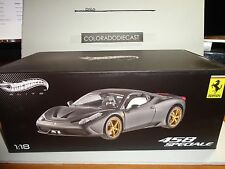Hot Wheels Elite 1:18 Matte Black Ferrari 458 Speciale