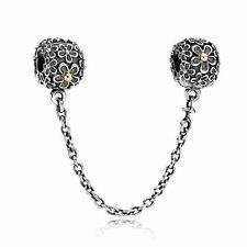 GENUINE AUTHENTIC PANDORA FLORAL BOUQUET TWO TONE SAFETY CHAIN RETIRED 790864
