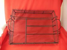 Tray black wire handles party carrier knives forks napkins condiments glasses